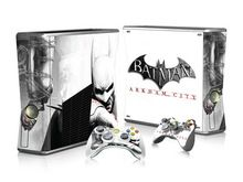 Skin - Batman Arkham City Skin Stickers For Xbox 360 Slim Console+ 2 Controllers Skin Cover For Xbox Slim Vinyls Sticker Xbox 360, Batman Arkham City, Microsoft, Batman Games, Dc World, Vinyls, Consoles, Vinyl Decals, Slim