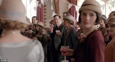 Celebrations: The upstairs and downstairs characters are seen enjoying a party...