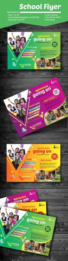 School Flyer - #Corporate #Flyers Download here: https://graphicriver.net/item/school-flyer/19458584?ref=alena994