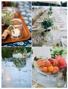 decoration mariage provence centre de table corbeille de fruit pêche bocal arbuste olivier