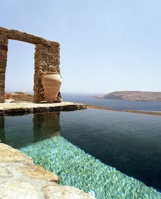 Rustic infinity pool, Mykonos, Greece