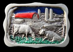 DAIRY FARM COW RANCH BARN SILO 3D BELT BUCKLE #cow #cowfarm #cowbuckle #cowfarmbeltbuckle #animal #animalbuckles #beltbuckle #coolbuckles #buckles