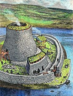 """""""The Broch of Clickimin (also Clickimin Broch) is a large, well-preserved but restored broch in Lerwick in Shetland, Scotland. Originally built on an island in Clickimin Loch, it was approached by a stone causeway. The broch is situated within a walled enclosure and, unusually for brochs, features a large """"forework"""" or """"blockhouse"""" between the opening in the enclosure and the broch itself. The site is maintained by Historic Scotland. There were several periods of occupation of the site Ancient Greek Architecture, Historical Architecture, Ancient Architecture, Gothic Architecture, Classical Architecture, Sustainable Architecture, World History Classroom, Villas, Iron Age"""