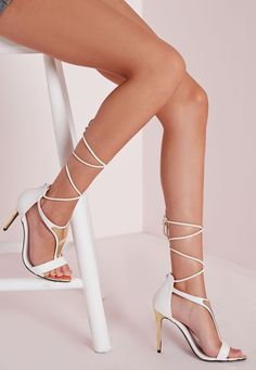 Missguided - Gold T Bar Ankle Tie Sandals White