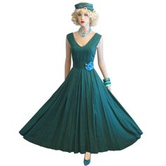 Vintage 50s 60s Precious Swing Dress M L Green Cotton Full Skirt Party New Look