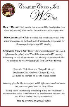 Wine Club at Charley Creek Inn