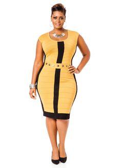 97334a28566 Colorblock Banded Sweater Dress - Ashley Stewart Plus Size Golden Yellow   UNIQUE WOMENS FASHION Ashley Stewart Dresses