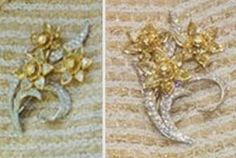 This brooch, a spray of three yellow daffodils in diamonds, was first seen in a painting by Dan Llywelyn Hall which was commissioned by the ... She wore it on a visit to Essex in May 2014.