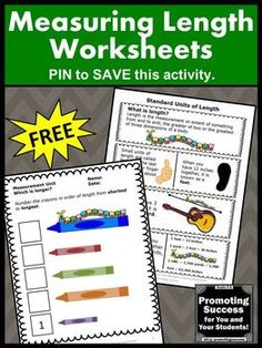 FREE Math Measurement Worksheets Standard Units of Length 2nd Grade Common Core Activities ~ Measuring How Long