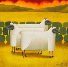 Three Sheep Standing Still by Graham Knuttel Cartoon Cow, Cute Cartoon, Throwback Thursday, Cows, Wolves, Graham, Sheep, Love Seat, Sculptures