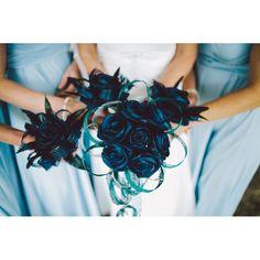 Tania's blue flax bridal bouquets