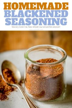 Homemade Blackened Seasoning recipe with easy tips for cooking with it! It's naturally gluten free, paleo, Low Carb and Keto compliant, there is no sugar added. This is a variation of Paul Prudhomme's Blackened Seasoning Blend, a really easy black Blacken Seasoning Recipe, Seasoning For Fish, Seafood Seasoning, Seasoning Mixes, Keto Seasoning, Creole Seasoning, Rub Recipes, Fish Recipes, Seafood Recipes