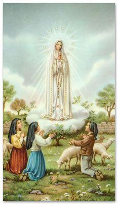 Maria, koningin van de Rozenkrans. Op 13 oktober 1917 sprak Maria met 3 herderskinderen in Fatima, Portugal