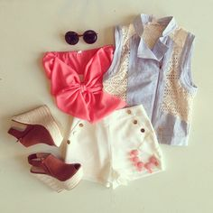 bow bandeau & high waisted shorts + denim vest