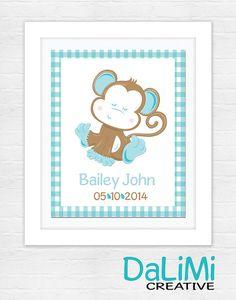 Birth Announcement Print  Baby Name Art  Nursery by DaLiMiCreative