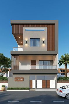 Modern House Designs In Punjab Home by Egmdesigns – gedangrojo. 3 Storey House Design, Bungalow House Design, Bungalow Floor Plans, Unique House Design, House Front Design, Conception Villa, Townhouse Designs, Narrow House, Dream House Exterior