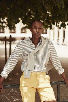 Les Deux Shirt - Vertical Stripes - Off White / Grey - Logo Embroidery - lesdeux.dk