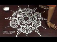 latest rangoli beautiful design with 7 dots Rangoli Designs Latest, Latest Rangoli, Simple Rangoli Designs Images, Rangoli Designs Flower, Rangoli Border Designs, Rangoli Designs Diwali, Rangoli Designs With Dots, Rangoli With Dots, Beautiful Rangoli Designs
