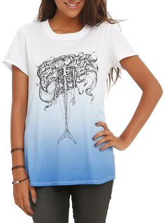 Mermaid Skeleton Ombre Girls T-Shirt,