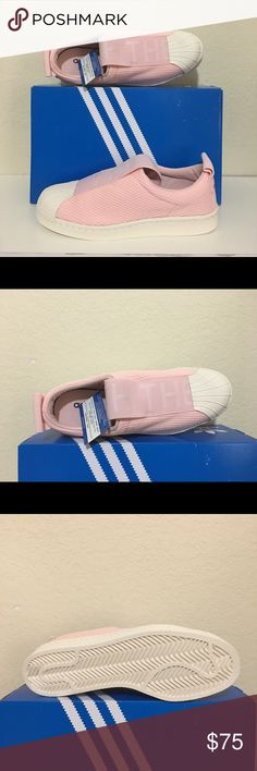 Adidas Women's Superstar Slip-On Sneakers, Pink/8 The classic adidas Superstar sneaker gets remixed as a chic slip-on. These women's shoes feature a breathable mesh upper with a heel pull. The stretchy webbing strap is detailed with The Brand with the 3-Stripes messaging. A rubber shell toe stays true t Classic rubber shell toe Mesh upper US 8 / F 40 / UK 6.5 Color: Icey Pink/Legacy White adidas Shoes Sneakers