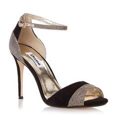 Dune Black two part mixed material high heel sandal-   Debenhams