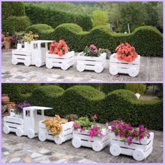 DIY Wood Crate Train Planter Tutorial, recycle wood crates, paint and chain them together to make choo choo train planter flower pot for garden decoration Wooden Crates Planters, Outdoor Planters, Wood Crates, Flower Planters, Diy Planters, Crate Crafts, Lawn Ornaments, Diy Garden Projects, Ficus