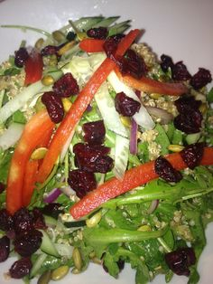 Quinoa and Arugula Salad with Cranberries, Toasted Pumpkin Seeds, Red ...