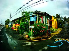 A good shot of the Kona Boys shop in Kealakekua. The go to shop for watermen and women on the Big Island.