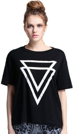 "Romwe Double ""Inverted Triangle"" Black T-shirt on shopstyle.com"