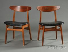 Two Hans Wegner Side Chairs, Model CH-30, Wood and apholstery, Carl Hansen & Son, Odense, Denmark, The curved backrest with exposed joinery over gently curving tapered legs, seats with black leather upholstery over side seat rails and front and back stretchers, height is 29.75