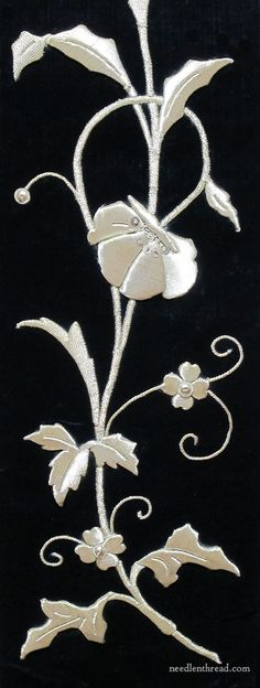 Raised goldwork embroidery on black velvet