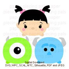 Monsters Inc. Boo, Sully and Mike tsum tsum. SVG cutting file #disney #tsumtsum #SVG
