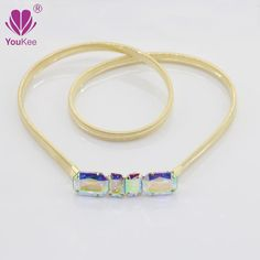 Women's Fashion Elastic Belts Gold Plated Big Colorful Rhinestone Belts For Women Ceinture Cintos Femenino(BL-698)YouKee Jewelry