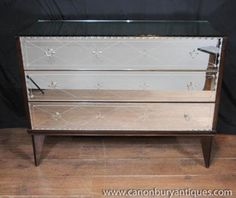 Photo of Antique Mirrored Art Deco Chest Drawers Commode Glass Furniture 1930s Furniture, Mirrored Furniture, Art Deco Mirror, Mirror Mirror, Mirrors, Mirror Chest Of Drawers, Antique Buffet, Antique Art, Light And Space