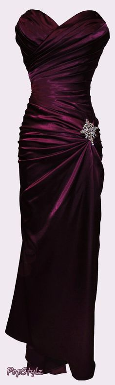 Gorgeous Long Satin Bandage Style Gown with  Sparkling Crystal Pin - Lovely for Bridesmaids or Any Formal Occasion