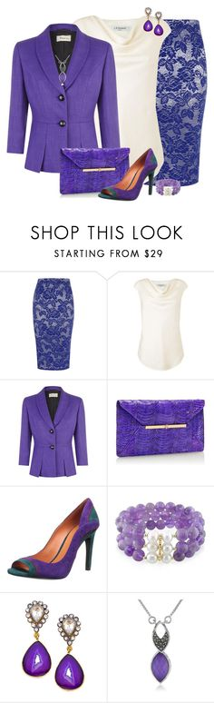 """Purple Pencil Combo"" by feelgood35 ❤ liked on Polyvore featuring Dorothy Perkins, L.K.Bennett, Precis Petite, Tory Burch, Via Spiga, Meghna Designs, Judith Jack, white, purple and Clutch"