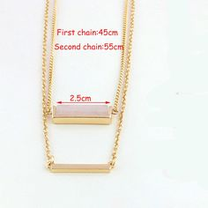 2015 New Style Trendy Fashion High Polished Geometric Square Faux Natural Stone Pendant Bar Multi Layer Necklace Women