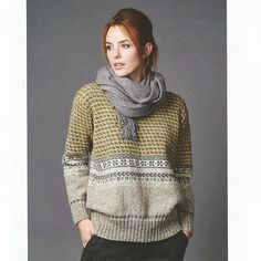 Knitting pattern PDF for classic jumper, knitted in wool, with tweed and fair-isle stitches. Fair Isle Knitting, Easy Knitting, Tejido Fair Isle, Motif Fair Isle, Pull Jacquard, Dress Gloves, Mohair Sweater, Yarn Brands, Jumpers For Women