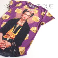 Purple Frida kahlo portrait tee Fun, comfy & chic!  This new and amazing line carried by Xochic Boutique!  Hand selected By me for you! Carrying sizes up to 4XL.  Sizes do run small, please see pictures for sizing!  🔴Price firm unless bundled🔴  If I don't have your size, please let me know and I can order your size with my next order. 100% polyester. Made in Mexico. Hand wash.  New retail without tags. Xochic boutique  Tops Tees - Short Sleeve