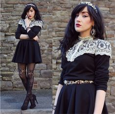Diy Dolce & Gabbana Headband, Accesorize Baroque Earrings, New Look Ring, Oasap Lace Top, Diy Baroque Lace Belt, Miss Selfridge Skirt, Claires Tights, New Look Heels