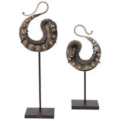 Miao Dragon Earrings on Custom Stand | From a unique collection of antique and modern antiquities at https://www.1stdibs.com/furniture/asian-art-furniture/antiquities/
