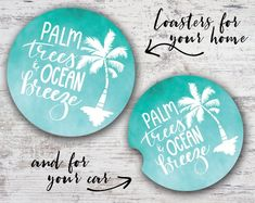 691c9f1cc0 Palm Trees and Ocean Breeze Watercolor Hand Lettering Sandstone Home  Coaster or Car Coaster