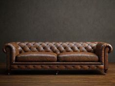 Two seater leather chesterfield sofa 3d model