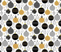 holiday ornaments - black gold glitter triangles fabric by charlottewinter on Spoonflower - custom fabric