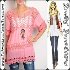 "NWT Pink Crochet Boho Top NWT Pink Crochet Top  Available in sizes: S, M, L Measurements taken in inches from a size small:  Length: 28"" Bust: 42"" Waist: 40""  Features:  • crochet accented detailing throughout  • relaxed fit • soft material   Cotton/Acrylic/Poly blend  Also available in Ivory/White in a separate listing   Note: you will need to wear a cami underneath this.   Bundle discounts available  No pp or trades Pretty Persuasions Tops"