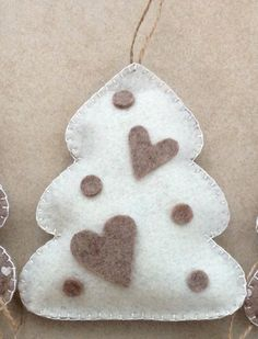 Handmade hanging beige felt heart printed with little bordeaux hearts on the front and dove-grey/beige on the back. Felt Christmas Ornaments, Handmade Christmas, Christmas Stockings, Christmas Crafts, Christmas Decorations, Felt Crafts, Diy And Crafts, Mery Chrismas, Boyfriend Crafts