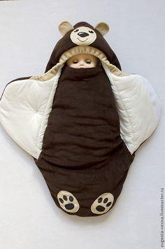 """Купить Конверт-кокон на выписку """"Мишка"""" - конверт, для новорожденного, на выписку, для прогулок, кокон, конверт-кокон"""