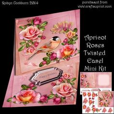 """Apricot Roses Twisted Easel Mini Kit on Craftsuprint designed by Robyn Cockburn - These designs can be made as a twisted easel or a standard easel. Instructions for both are included in the tutorial.This is a lovely design featuring a pretty bird with lots of layers of decoupage. 2 greeting labels (stopper plates) are included as well as a blank.The card is approx. 14cm (5.5"""") square when folded flat. - Now available for download!"""