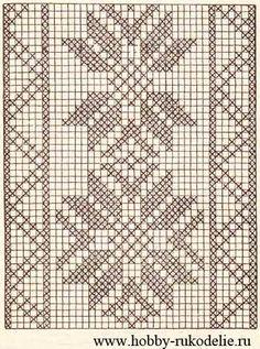 Filet Crochet Charts, Crochet Stitches Patterns, Crochet Diagram, Weaving Patterns, Crochet Diy, Crochet Lace Edging, Cross Stitch Fruit, Cross Stitch Flowers, Cross Stitch Designs