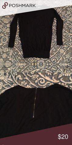 Black long sweater with zipper detailing Black long sweater with the zipper detailing on the back. ruby moon Sweaters Crew & Scoop Necks